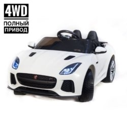 Электромобиль Jaguar F-Type QLS-5388 4WD белый (полный привод, колеса резина, кресло кожа, пульт, пузыка)